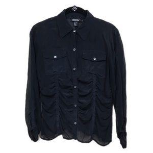 Pretty DKNY sheer 100% silk long sleeve blouse
